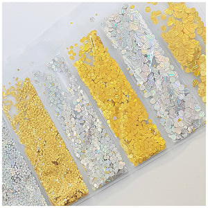 6 Grid Bag Sequins for Nail Art: Round Disco Ball
