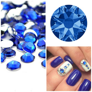 Swarovski Sapphire Blue Crystals Mixed Size Glue On Flatbacks Small to Medium - Glitz It