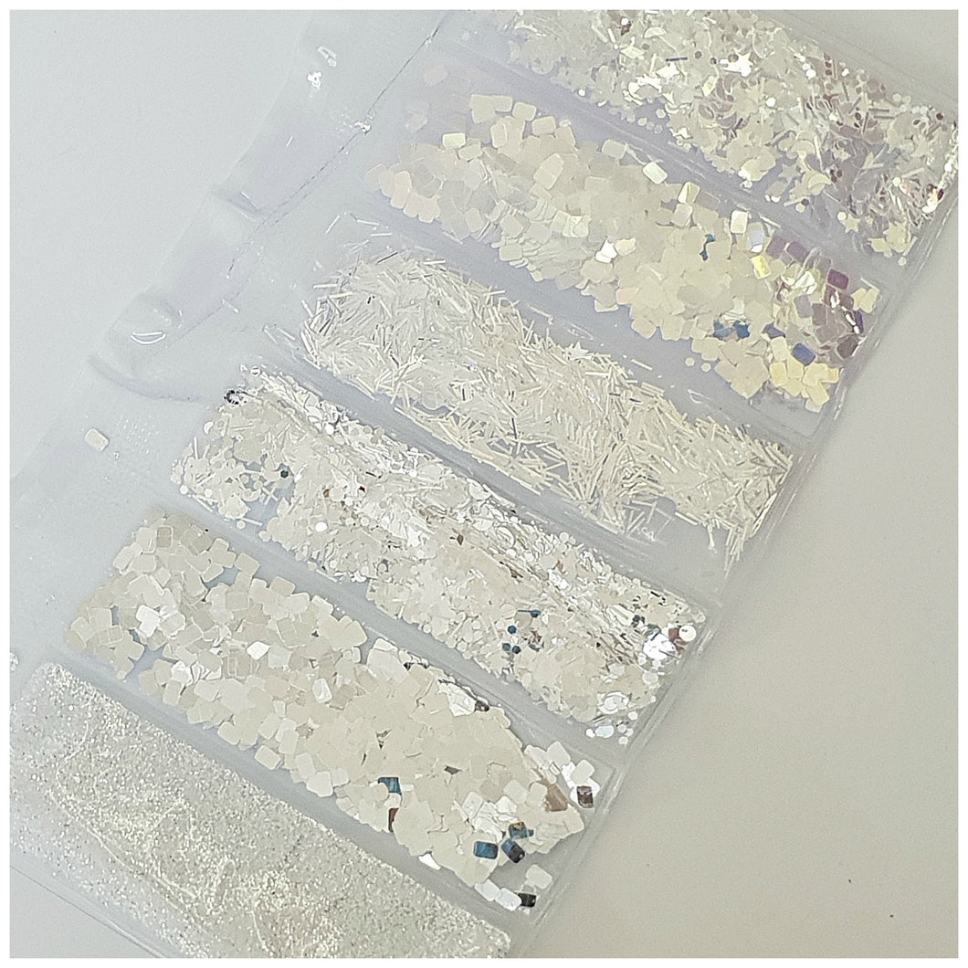 6 Grid Bag Sequins for Nail Art: Silver Mix