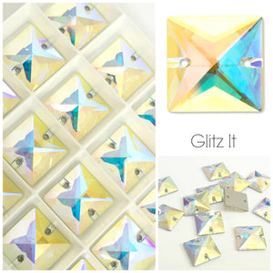 Swarovski® Sew On Crystals: Square 3240 AB - Glitz It