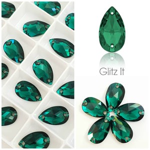 Swarovski® Sew On Crystals: Drop 3230 Emerald - Glitz It