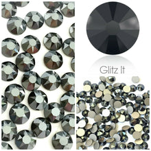 Swarovski Jet Hematite Crystals Mixed Size Glue On Flatbacks Small to Medium - Glitz It