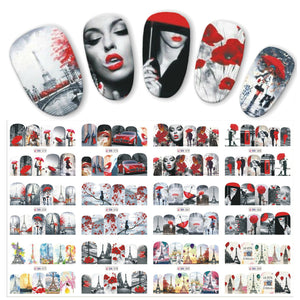 12-Sheet Sexy and Romantic Feature Red Water Nail Art Stickers