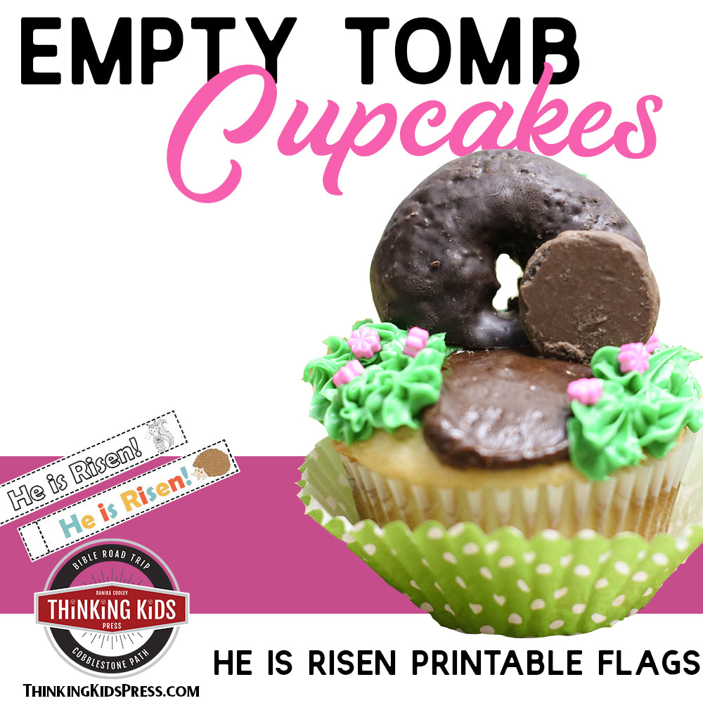 Easter Cupcakes for Kids with He is Risen Printable Flags