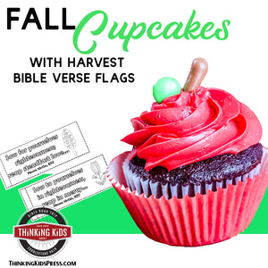 Fall Harvest Cupcakes with Harvest Bible Verse Flags