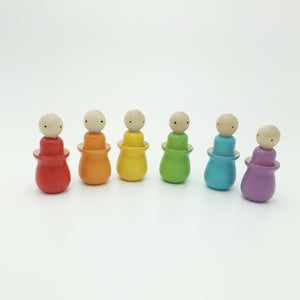 Rainbow Peg Doll Color Sorter Set