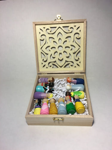 Full Peg-doll Princess Set in Wood Box