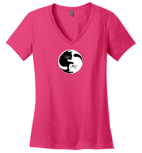 "Women's Yin Yang Cat V-Neck T-Shirt  ""Free Shipping USA"""