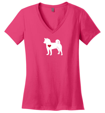 "Women's Shiba Love  V-Neck T-Shirt  ""Free Shipping USA"""