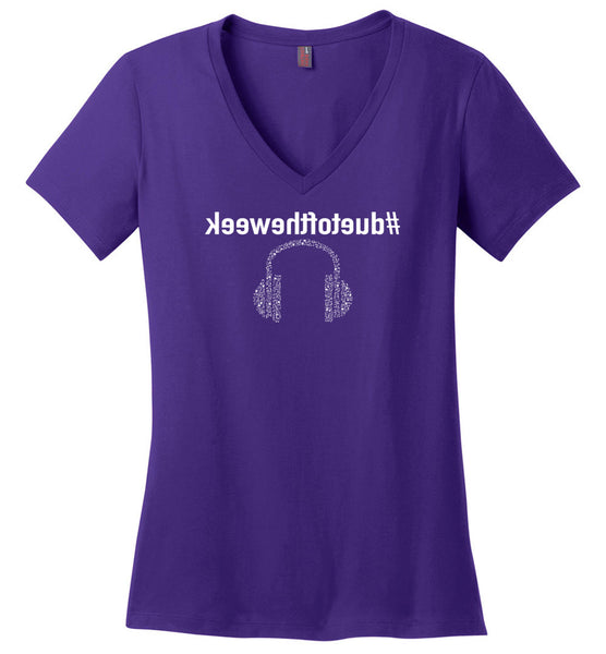 #duetoftheweek Headphones- Mirrored - Ladies -V-Neck T-Shirt