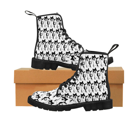 Brand New Shib Inu -  Dubbing It UP! - Martin Canvas Boot -White Combo
