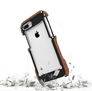 Black / For iPhone 5 5S SE Wooden Metal Shockproof iPhone Case Phone Case Bank