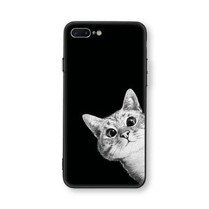 Cat Cases curious cat / for iphone 7 Black and White Cat iPhone Case Case Syndicate