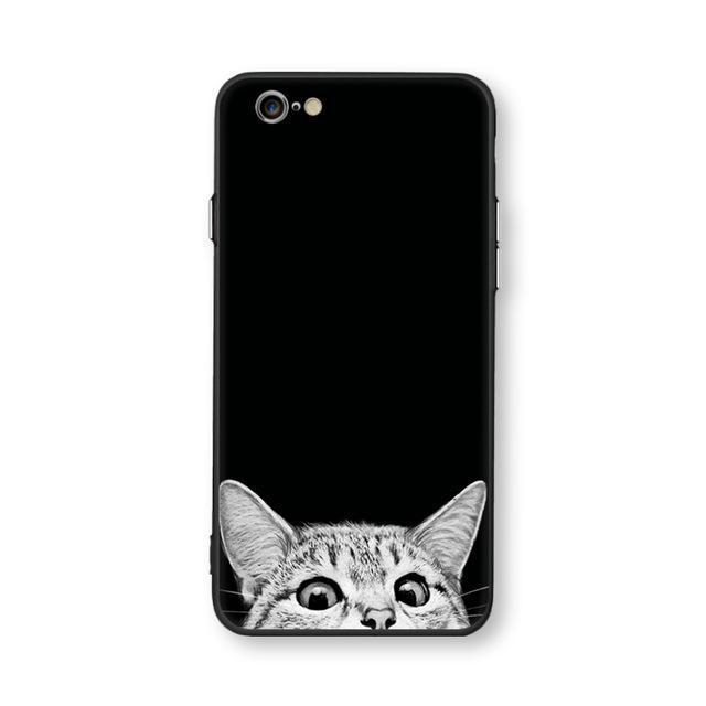 Black and White Cat iPhone Case - $18.95 - Cat Cases - adorable, animal, Animal Lovers Phone Case, Black, cat lovers, cats, Cats Phone Case, cute, kitten, kitty, loveable, Upsell 1, White - Color peeping cat - Material for iphone 6 6s - - Phone Case Bank