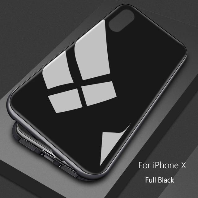 Slim Magnetic Metal Bumper Glass iPhone Case - $19.99 - Magnetic Tempered Glass Case - apple cases, glass case, iphone 7, iphone 7 plus, iphone 8, iphone 8 Plus, iphone X, magnetic case, metal bumper, tempered glass, UF1, Upsell 2 - Color Full Black - Material For iPhone 6 - - Phone Case Bank