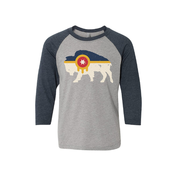 Tulsa Bison Flag Youth Baseball Tee