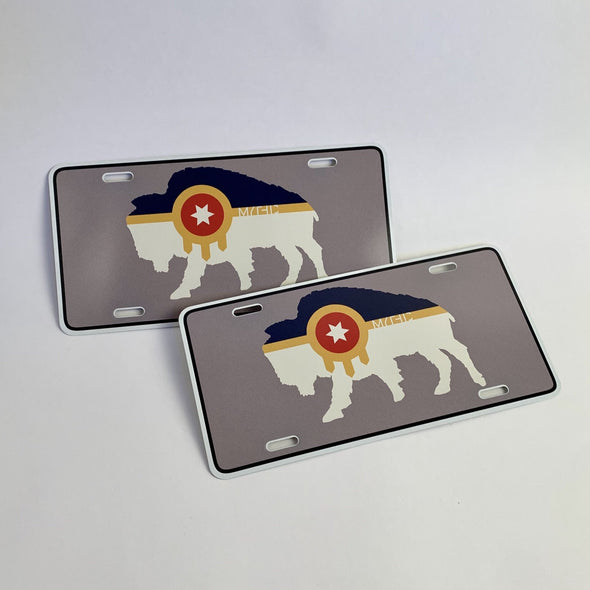 Bison Flag License Plate