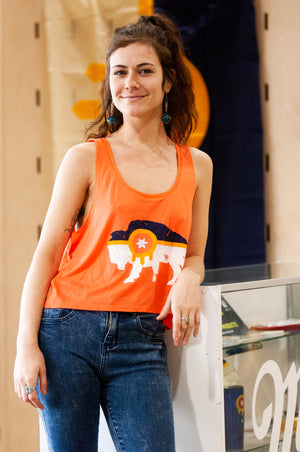 Bison Flag - Womens Coral Tank