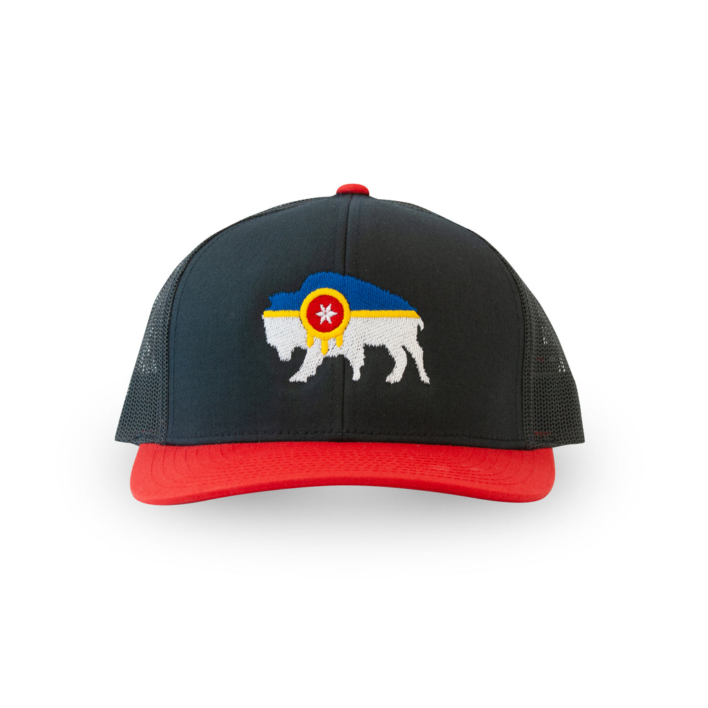 Tulsa Flag Hat - Bison Flag - Red/Dark Navy Snapback Trucker