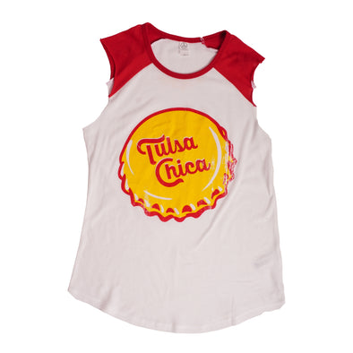 Tulsa Chica Red & White Tank