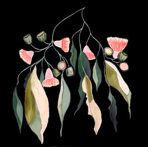 "Limited Edition Print ""Gum Leaves in Bloom Noir''"