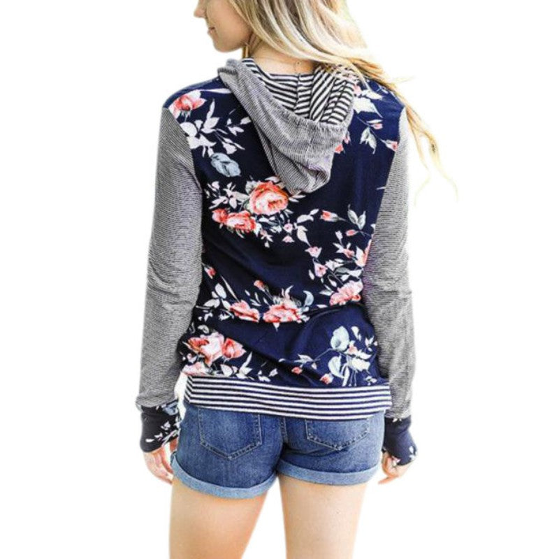 Emery - Striped Floral Sweatshirt
