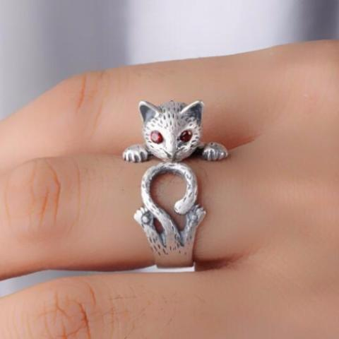 Playful Cat - Sterling Silver Ring