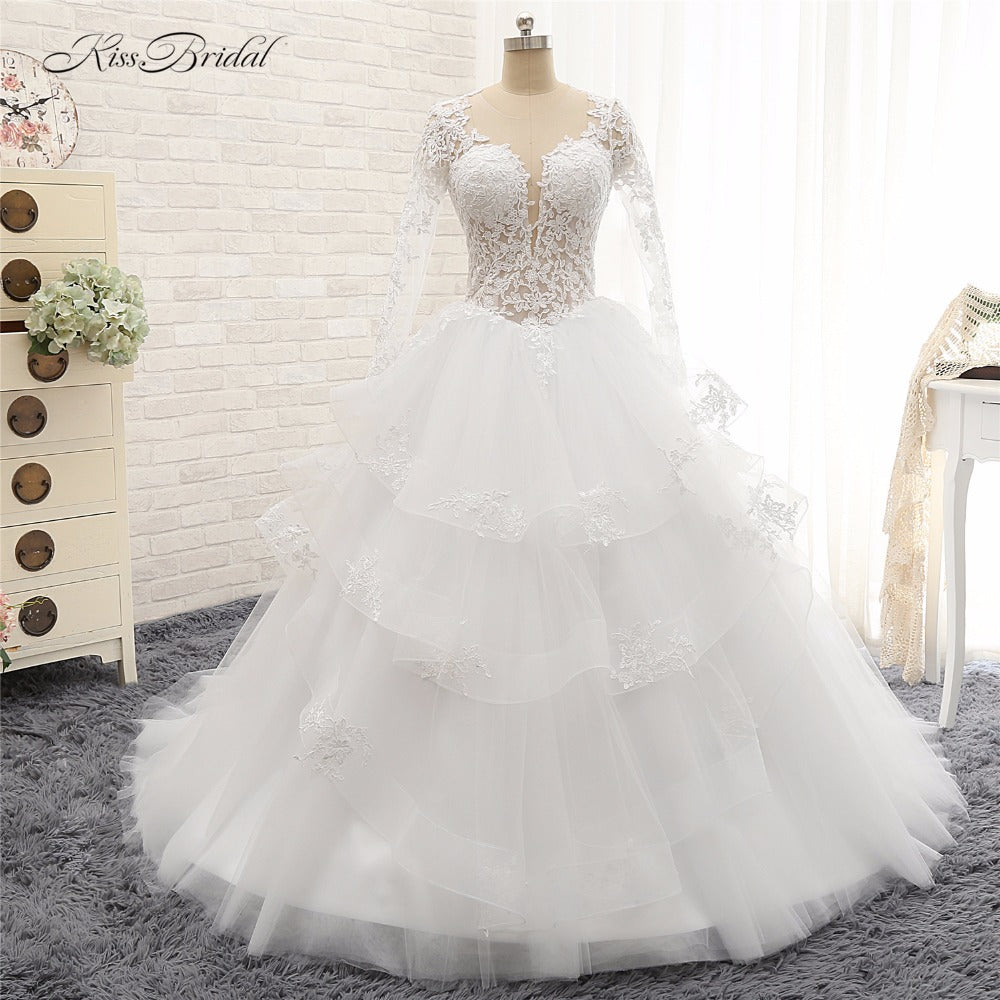 Beautiful Princess Wedding Gowns: Beautiful Long Sleeve Princess Ball Gown Wedding Dress