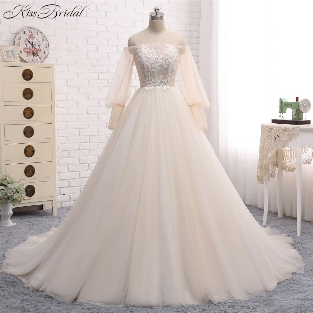 Romantic Goddess Bride Ballroom Gown Wedding Dress With