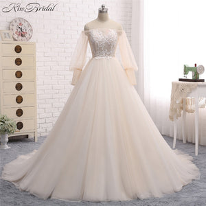 7c6c77d22 Romantic Goddess Bride Ballroom Gown Wedding Dress with Off The Shoulder  Sleeves