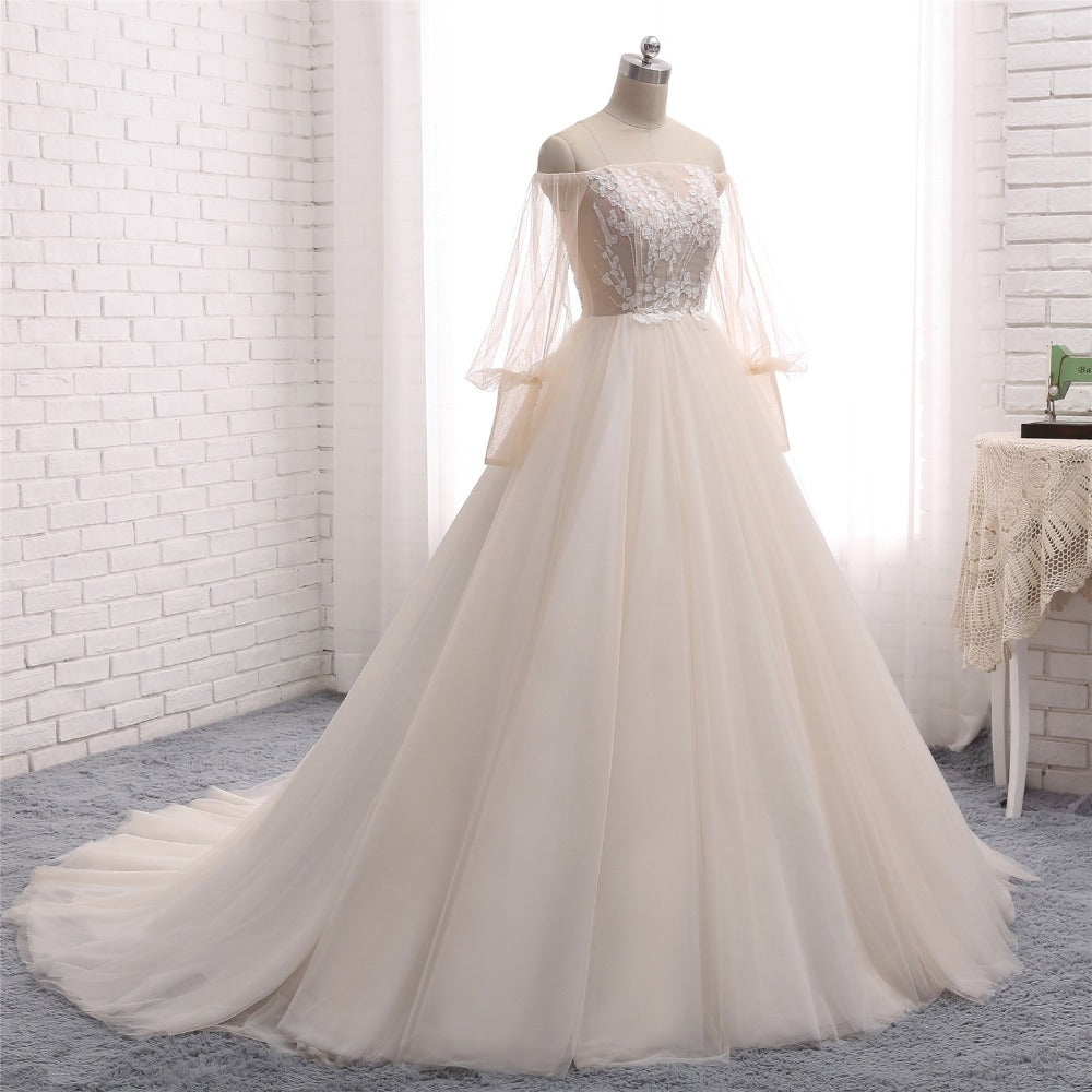 7b691392e ... Romantic Goddess Bride Ballroom Gown Wedding Dress with Off The  Shoulder Sleeves ...