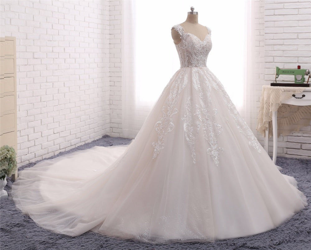 Princess Ball Gown Wedding Dress with Lace & Corset Back – Goddess ...