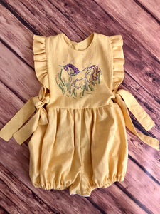 Hand Embroidered Unicorn Romper Size 3