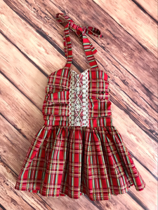 Holiday Plaid Halter Dress Size 18m