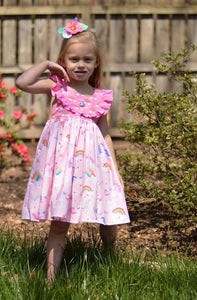Rainbow unicorn spring summer dress