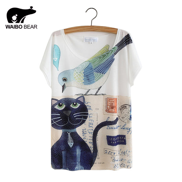 Cat Animal Printed T Shirt