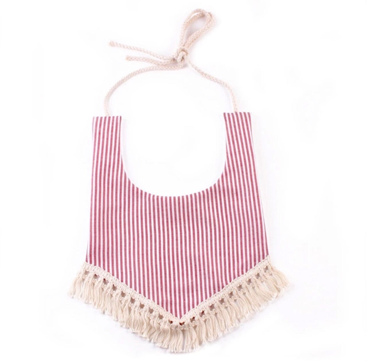 Boho Bib - Red Stripes