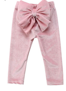 Suede Bow Leggings - Light Pink