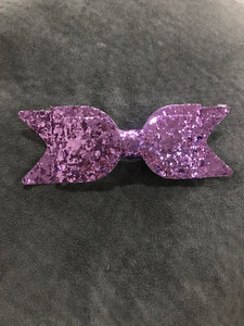 Glitter Bow Clip - Purple