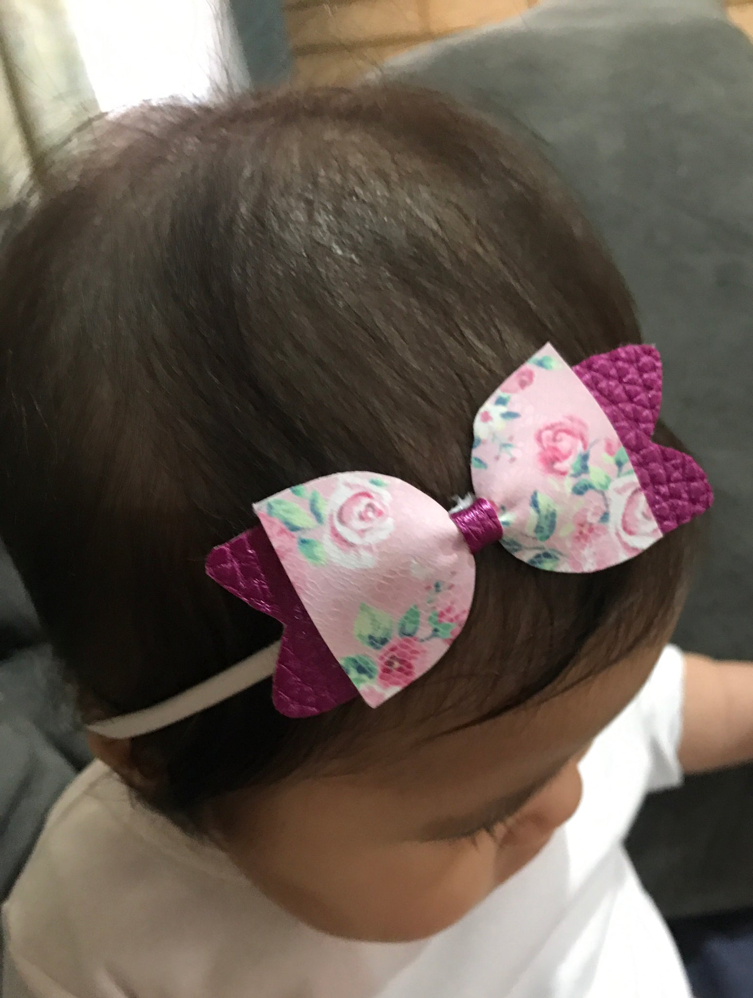 Floral Magenta Bow