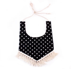 Boho Bib - Black Polka dot