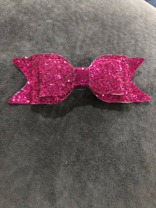 Glitter Bow Clip - Hot Pink
