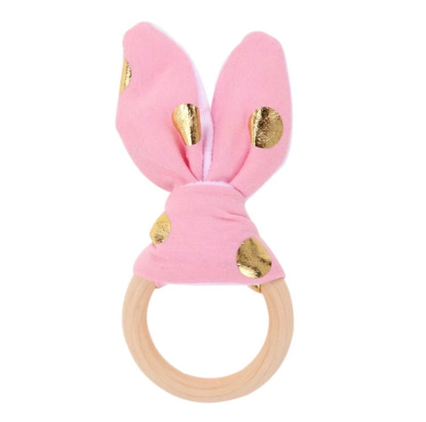 Pink and Gold Wooden Touch and Feel Toy
