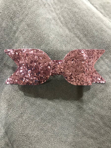 Glitter Bow Clip - Rose Pink