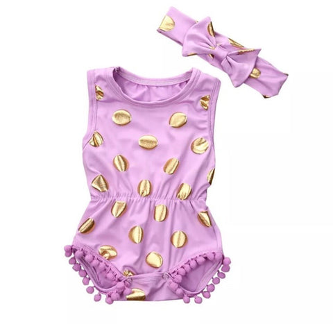 Spotty Gold Romper