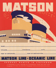 Load image into Gallery viewer, Stateroom Baggage Tag, Matson Lines, 1930s