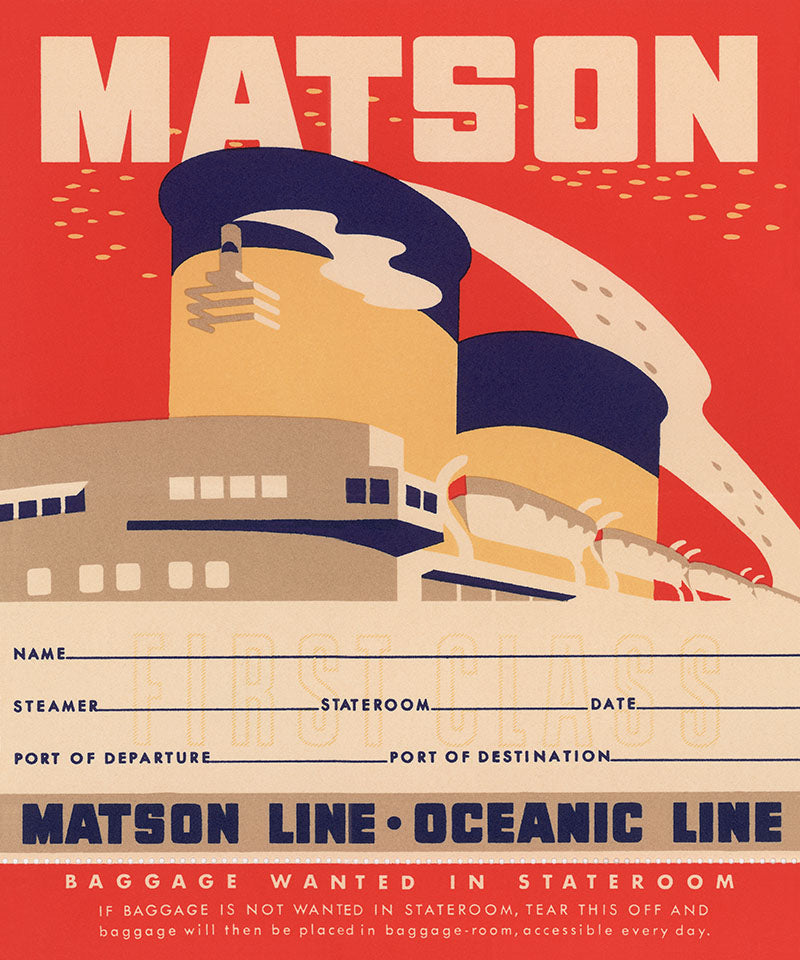 Stateroom Baggage Tag, Matson Lines, 1930s
