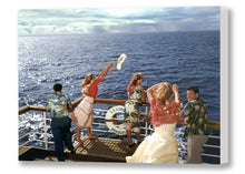 Load image into Gallery viewer, Lei Cast At Sea, Matson Lines Photograph, 1955