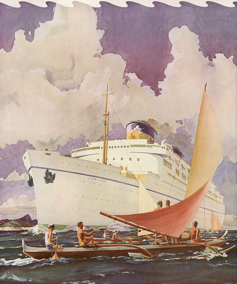 S.S. Lurline Outrigger Greeting, Matson Lines Brochure Cover, 1938