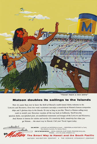 Hawaii Hears a New Aloha, Matson Lines Advertisement, 1957